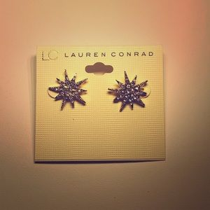 LC Lauren Conrad Gold Tone Starburst Earrings New
